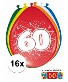 Feest ballonnen met 60 jaar print 16x sticker