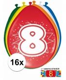 Feest ballonnen met 8 jaar print 16x sticker