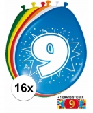 Feest ballonnen met 9 jaar print 16x sticker