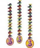 Feest decoratie spiralen 3 jaar