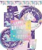 Feest eenhoorn decoratie versiering pakket voor kinderfeestje met 8 kinderen
