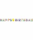 Feestelijke happy birthday slinger met ballonnen opdruk karton
