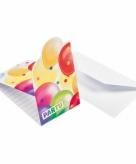 Feestelijke uitnodigingen met ballonnen opdruk karton 8st