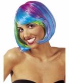 Fel gekleurde hippie boblijn pruik