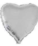Folie ballon zilveren hart 52 cm