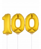 Folie ballonnen cijfer 100 goud 41 cm