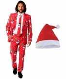 Foute kerst opposuits pakken kostuums met kerstmuts maat 52 xl voor heren christmaster
