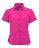 Fuchsia gekleurd dames overhemd met korte mouwen