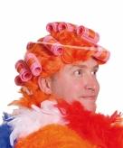 Fun pruik oranje met krulspelden