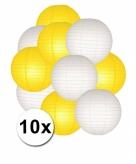 Geel en wit lampionnen pakket 10x