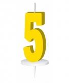 Geel taart kaarsje cijfer 5