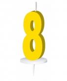 Geel taart kaarsje cijfer 8