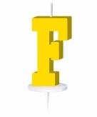 Geel taart kaarsje letter f