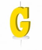 Geel taart kaarsje letter g