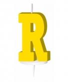 Geel taart kaarsje letter r