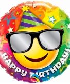 Gefeliciteerd smiley folie ballonnen 45 cm met helium