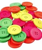 Gekleurde houten knopen 60 stuks
