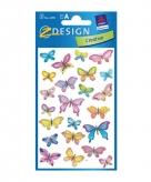 Gekleurde vlinder stickertjes 3 vellen