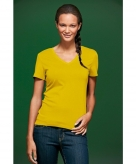 Gele dames t-shirts met v hals
