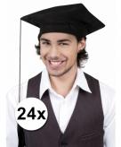 Geslaagd afstudeer hoedjes zwart 24x