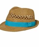 Gevlochten hoedje met turquoise band