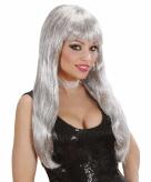 Glitter gamour pruik zilver