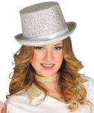 Glitter hoge hoed zilver