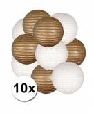 Goud en wit lampionnen pakket 10x