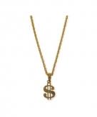 Gouden bling bling ketting dollar