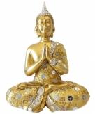 Gouden thais biddende boeddha beeldje 22 cm