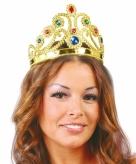 Goudkleurige prinsessen tiara met diverse edelstenen