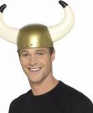 Goudkleurige vikinghelm met hoorns