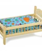 Grenen bed voor poppen 42 cm