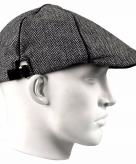 Grijze linnen flat cap pet voor heren
