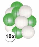 Groen en wit lampionnen pakket 10x