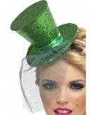 Groen glitter hoedje met elastiek