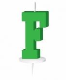 Groen taart kaarsje letter f