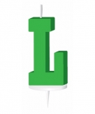 Groen taart kaarsje letter l