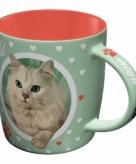 Groene kattenliefhebber mok
