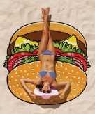 Grote cheeseburger strandhanddoek 150 cm