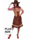 Grote maten cowboy jurk met geruite blouse voor dames