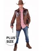 Grote maten western jas bruin voor heren