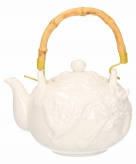 Grote witte theepot 1 liter chinese draak