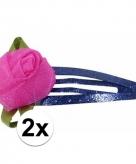 Haarspelden blauw met roze roos