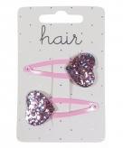 Haarspelden roze met glitter hartje