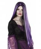 Halloween damespruik lang paars haar
