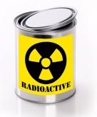 Halloween versiering blik met radioactief gif