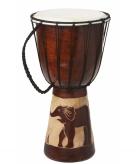 Handgemaakte houten drum olifant 40 cm