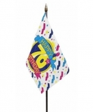 Happy 70th birthday vlaggetje polyester
