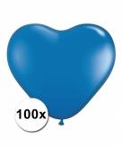 Hart ballonnen blauw 100 stuks